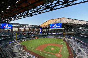 Globe Life Field surround sound system, large format video displays